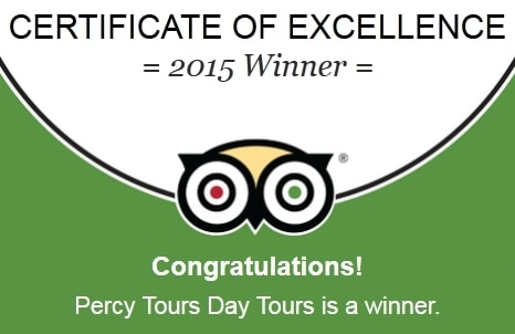 Percy Tours TripAdvisor Award Winner 2015