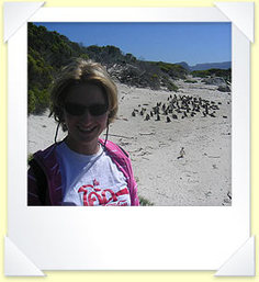 Louise with the penguins at Boulders Beach