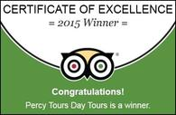 2015 Winner of Excellence by Percy Tours Hermanus on TripAdvisor
