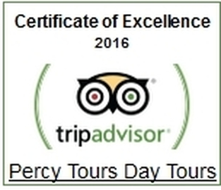 TripAdvisor 2016 Certificate of Excellence for Percy Tours