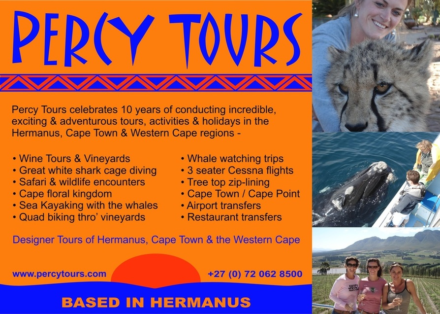 Percy Tours of Hermanus celebrates, in 2014, a decade of conducting tours, activities and adventures of Hermanus, Cape Town and the Western Cape