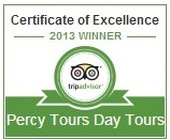 Percy Tours Hermanus TripAdvisor Certificate of Excellence 2013