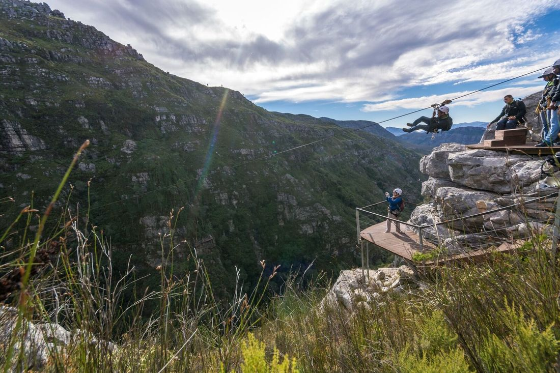 Gorge Zip Lining in mountains near Hermanus, South Africa