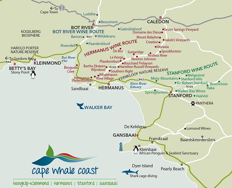 Hermanus, Botriver and Stanford wine regions and wineries