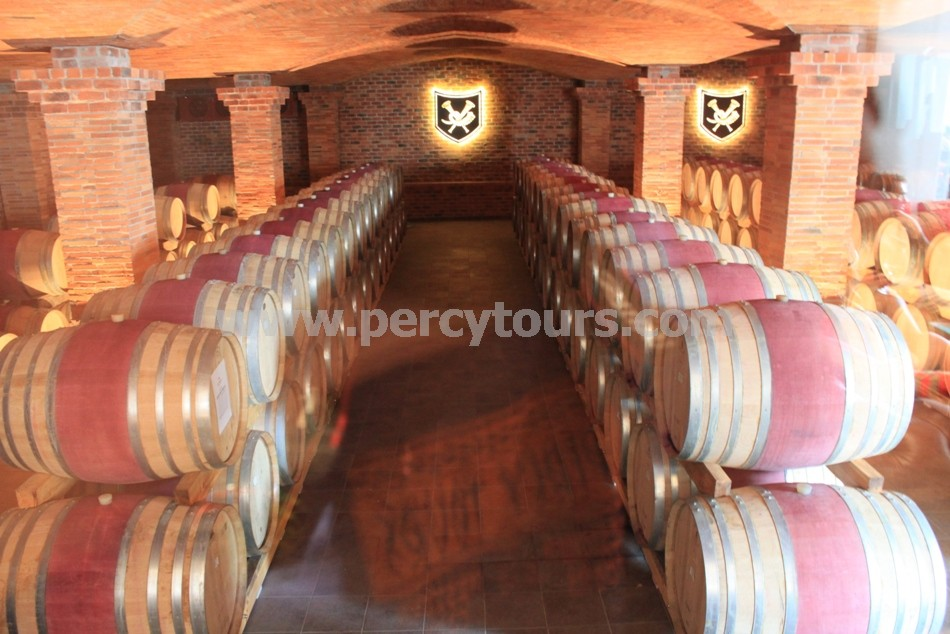 Oak wine barrels in cellar, winery, wine tours, Franschhoek and Hermanus, near Cape Town, South Africa