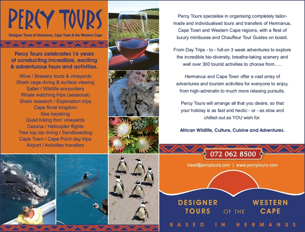 Percy Tours of Hermanus celebrated, in 2020, over 16 years of conducting tours, activities and adventures of Hermanus, Cape Town and the Western Cape
