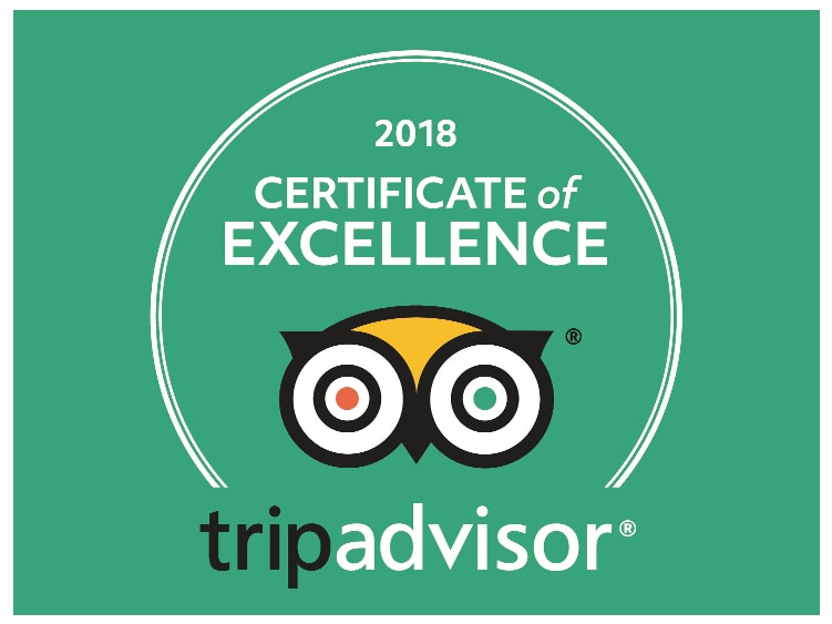 2018 TripAdvisor Award for Percy Tours Hermanus TripAdvisor Award Certificate of Excellence